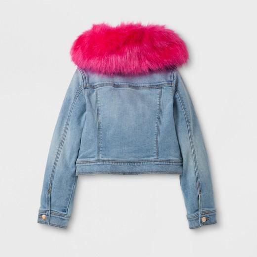 Girls' Jean Jacket with Faux Fur Collar - Cat & Jack™ Light Blue ...