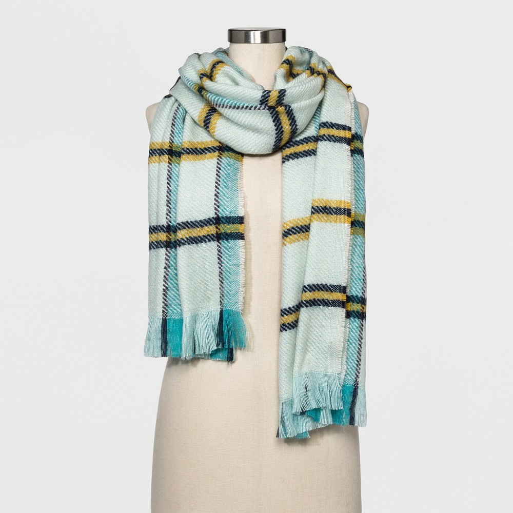 Womens Plaid Scarf - A New Day Mint (Green)