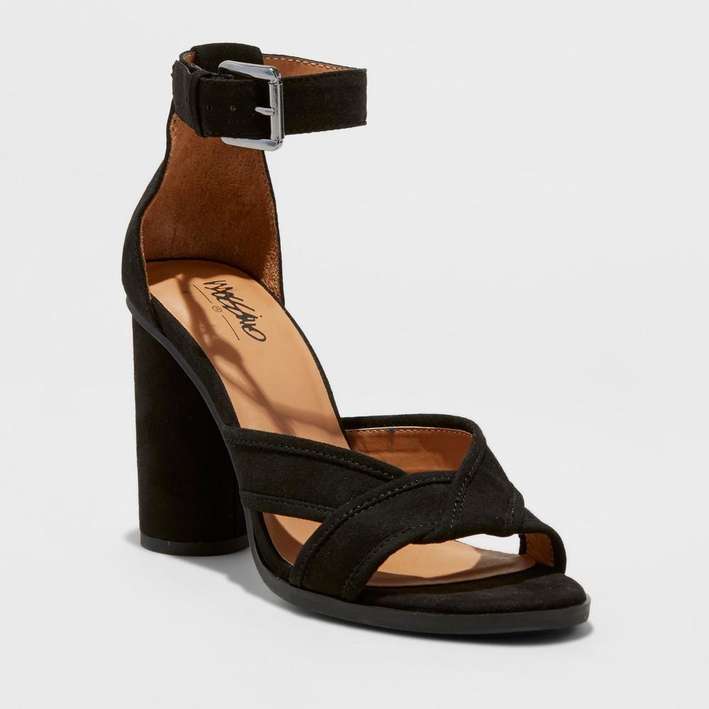 Womens Genevive Velvet Dress Quarter Strap Sandals - Mossimo Black, Size: 6