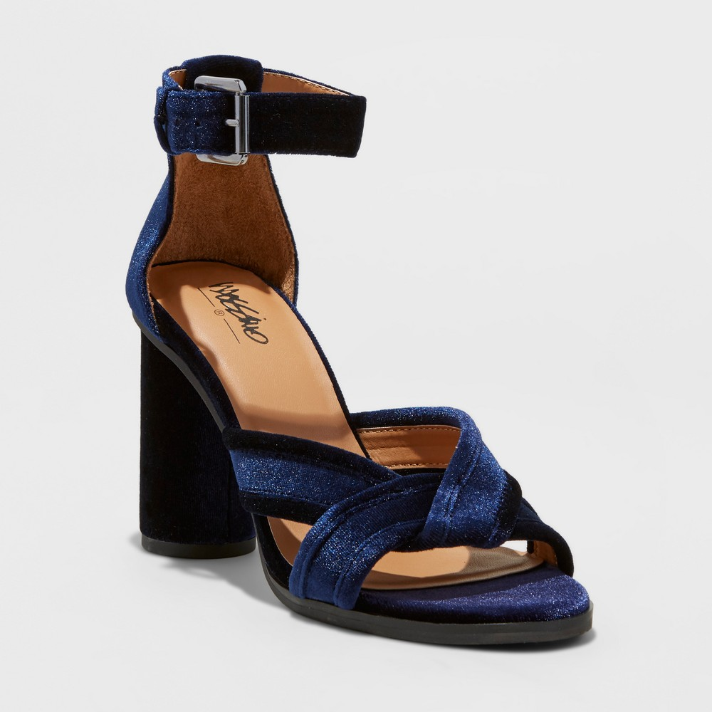 Womens Genevive Velvet Dress Quarter Strap Sandals - Mossimo Blue 10