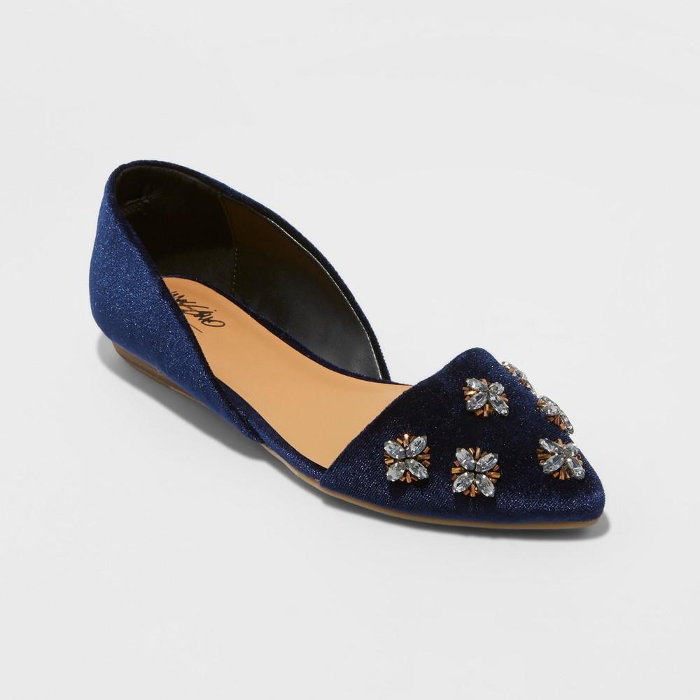 Womens Camille Embellished Toe Velvet dOrsay Ballet Flats - Mossimo Black, Size: 9, Blue