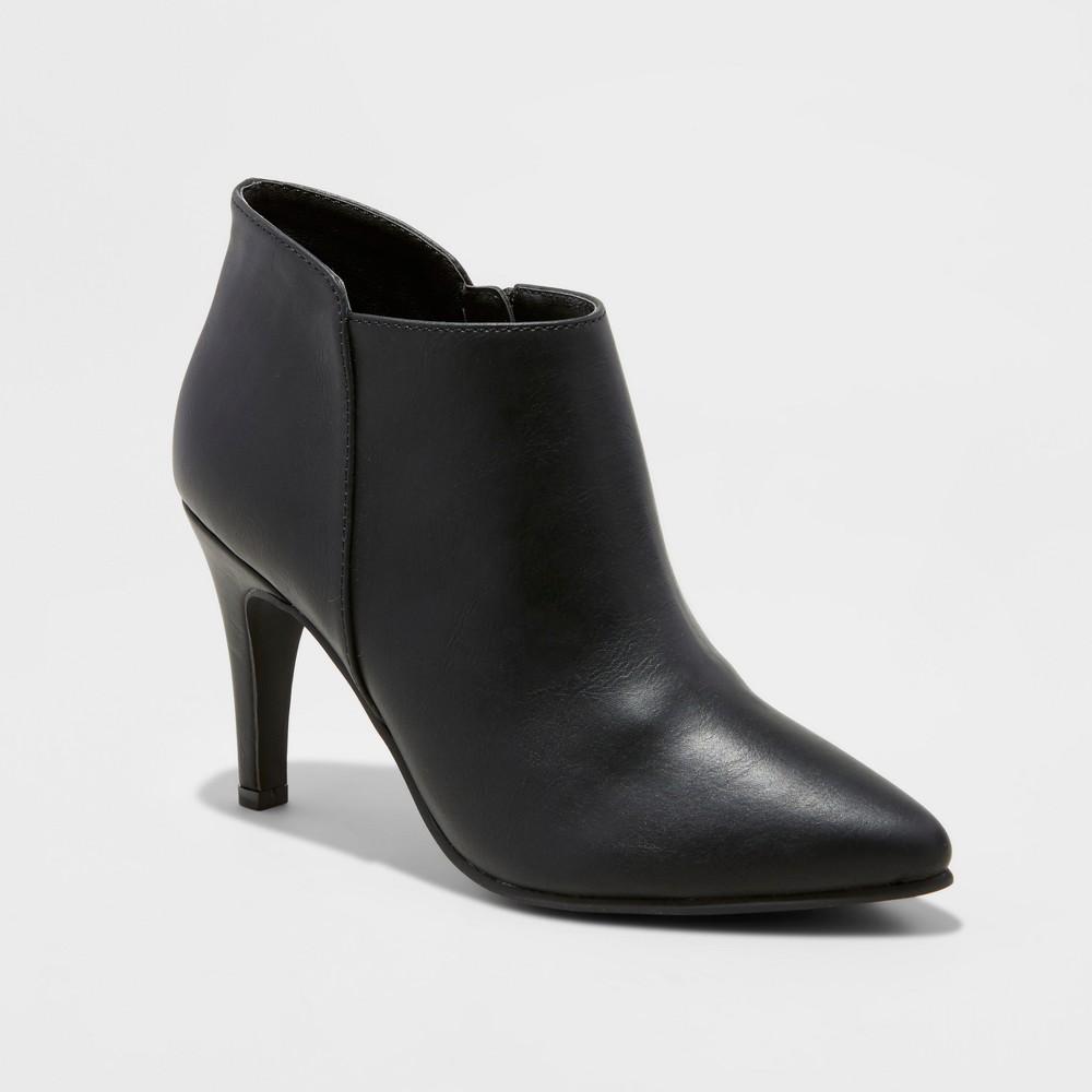 Womens Wide Width Tabby Heeled Dress Booties - Mossimo Black 6.5W, Size: 6.5 Wide