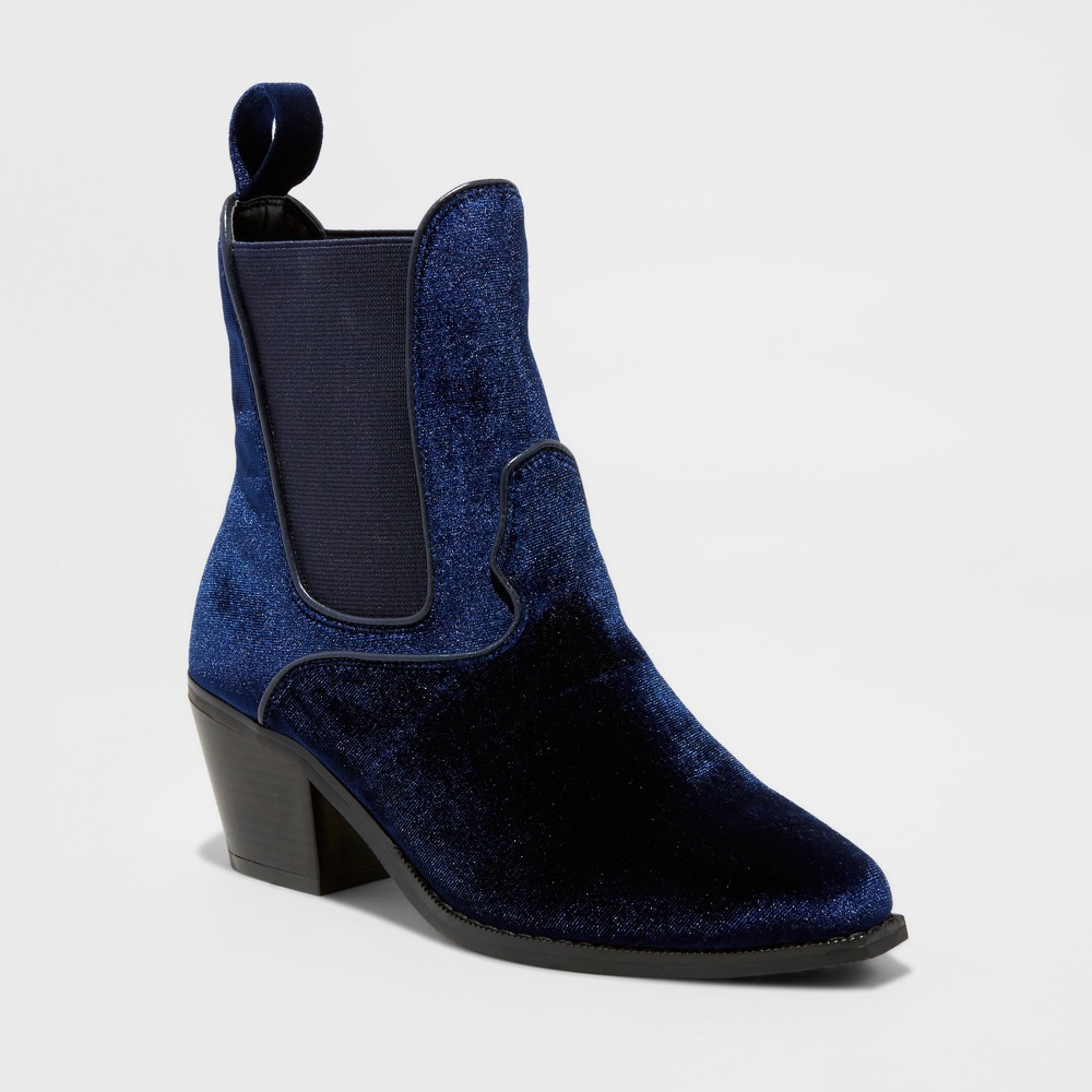 Womens Tommi Velvet Booties - Mossimo Blue 7.5