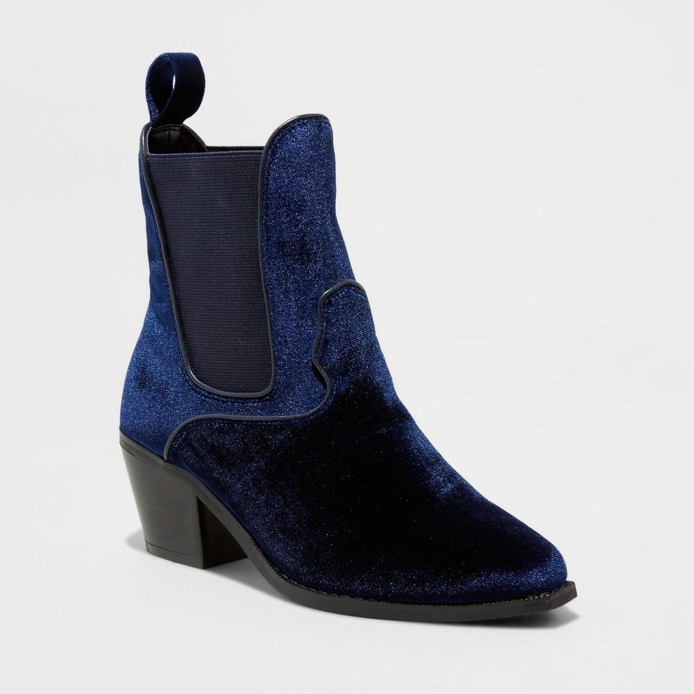 Womens Tommi Velvet Booties - Mossimo Blue 8