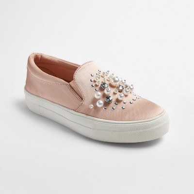 view Women's Raquel Slip On Satin Sneakers with Embellished Stones and Pearls - Mossimo Supply Co. on target.com. Opens in a new tab.