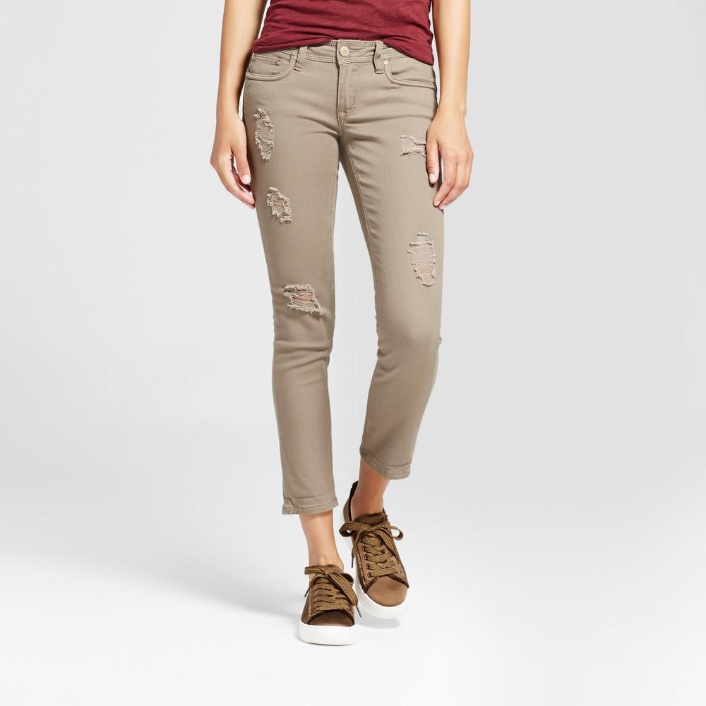 Womens Slit Knee Crop Skinny Jeans - Dollhouse (Juniors) - Olive 13, Yellow