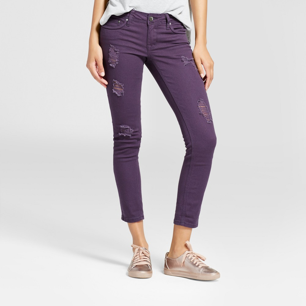 Womens Slit Knee Crop Skinny Jeans - Dollhouse (Juniors) - Eggplant 11, Purple