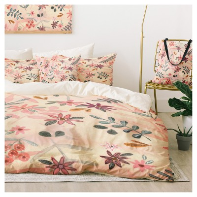 pink wonder forest feminine floral duvet cover set deny designs - Floral Duvet Covers