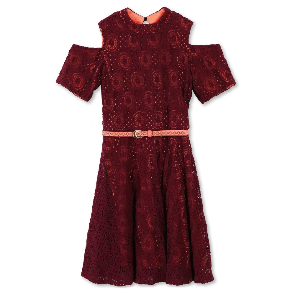 Girls Lots of Love by Speechless Cold Shoulder Lace Belted A Line Dress - Dark Red 10