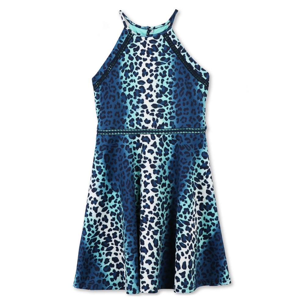 Girls Lots of Love by Speechless Cheetah A Line Dress - Aqua - 12, Blue