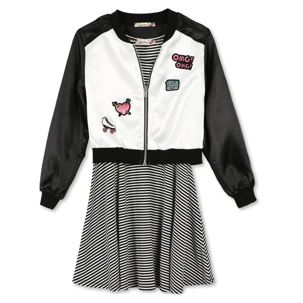 Girls Lots of Love by Speechless Bomber A Line Dress - Black - 7, Black White
