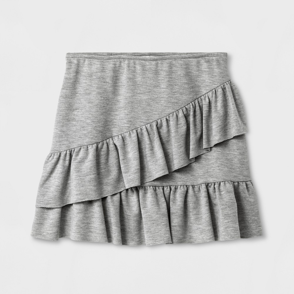 Girls Ruffle Mini Skirt Art Class - Heather Gray XS