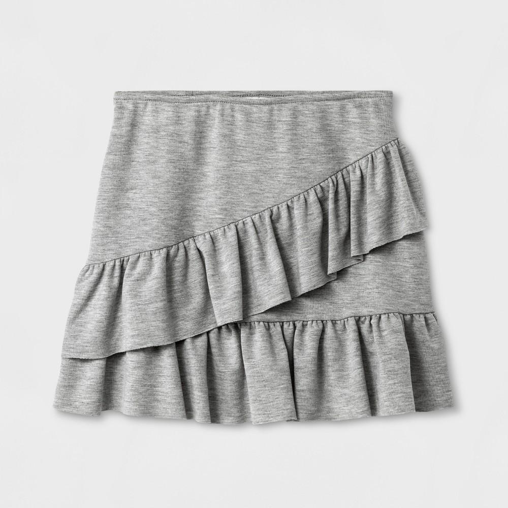 Girls Ruffle Mini Skirt Art Class - Heather Gray M