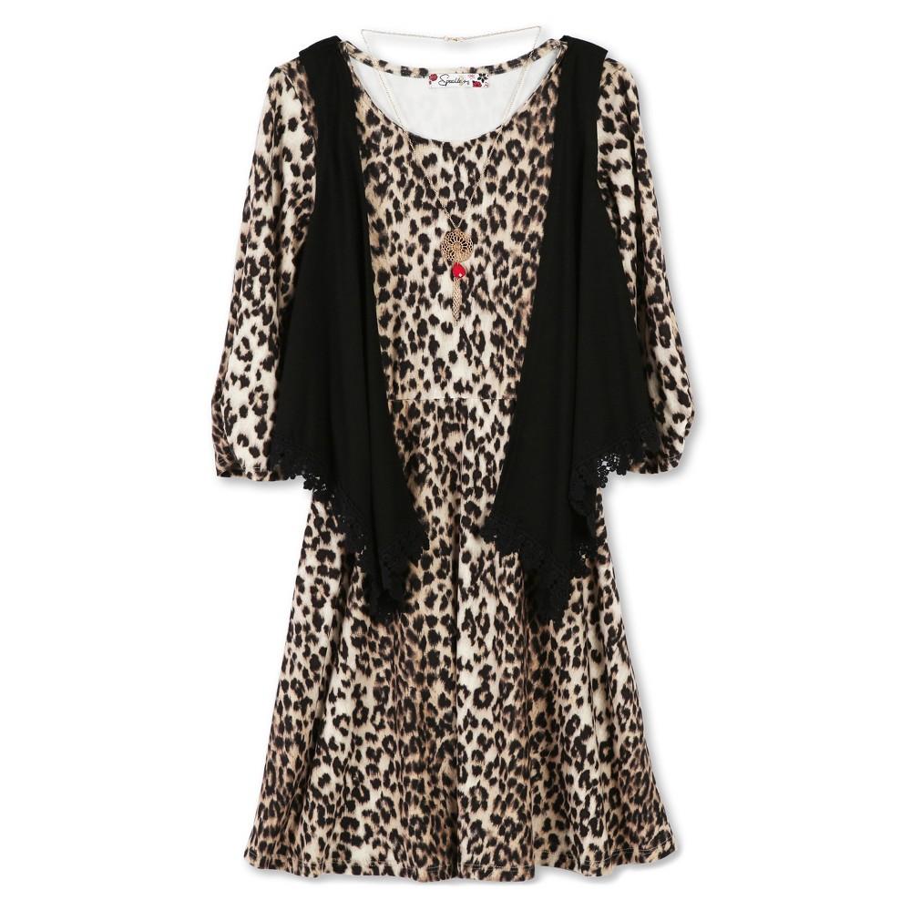 Girls Lots of Love by Speechless Cheetah Vest A Line Dress - Beige 14, Black Beige