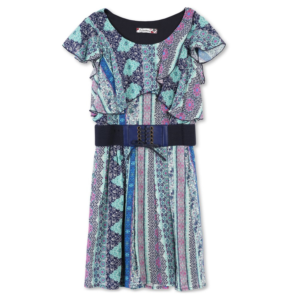 Girls Lots of Love by Speechless Belted Short Sleeve A Line Dress - Navy - 14, Blue Purple