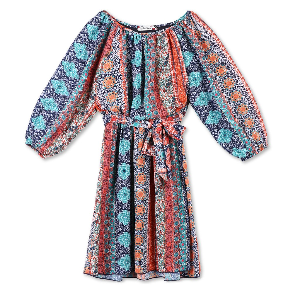 Girls Lots of Love by Speechless Printed Chiffon A Line Dress - Orange Dream - 7, Blue Orange