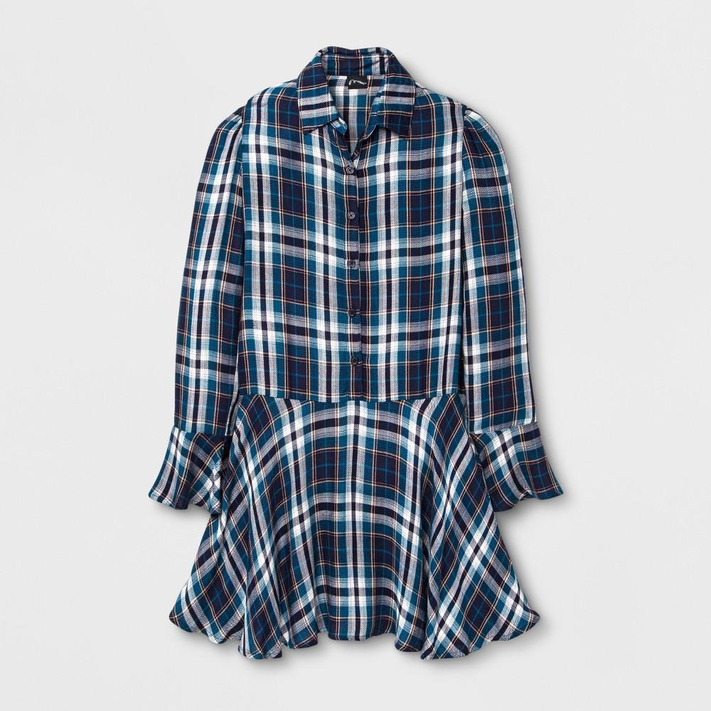Girls Long Sleeve Plaid Dress Art Class - Deep Ultramarine S, Blue