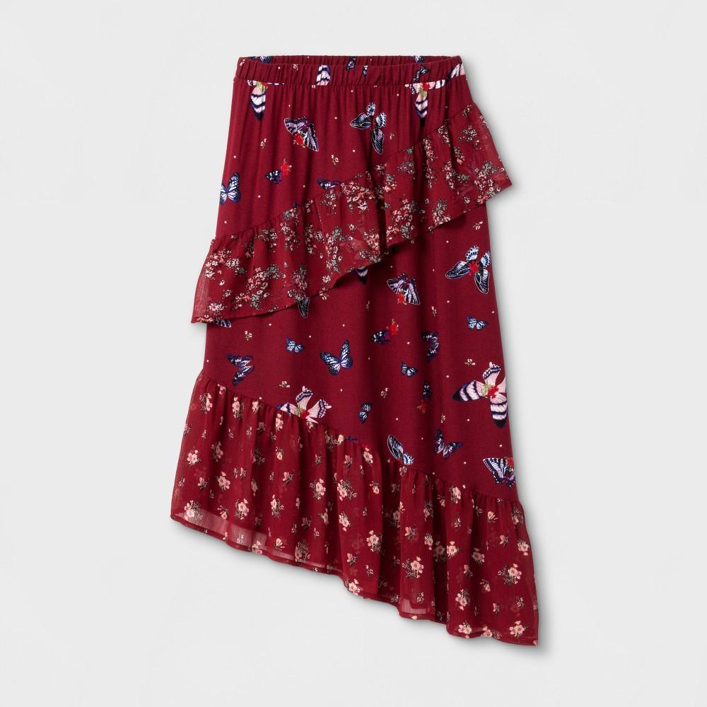 Girls Ruffle Midi Skirt Art Class - Rhubarb XL, Red