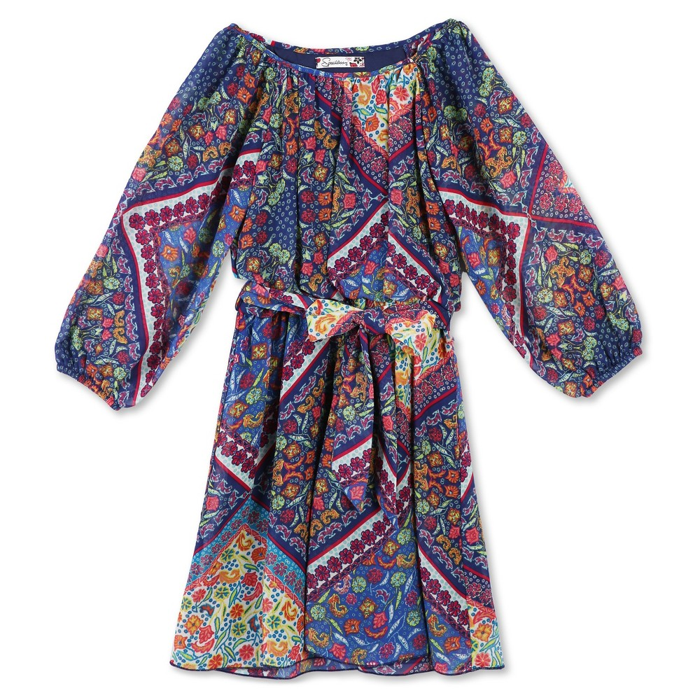 Lots of Love by Speechless Girls Printed Chiffon A Line Dress - Blue 16, Blue Pink