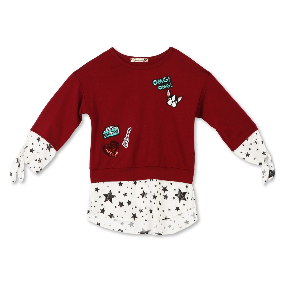 Lots of Love by Speechless Girls 3/4 Sleeve Patch Top And Blouse - Dark Red XL