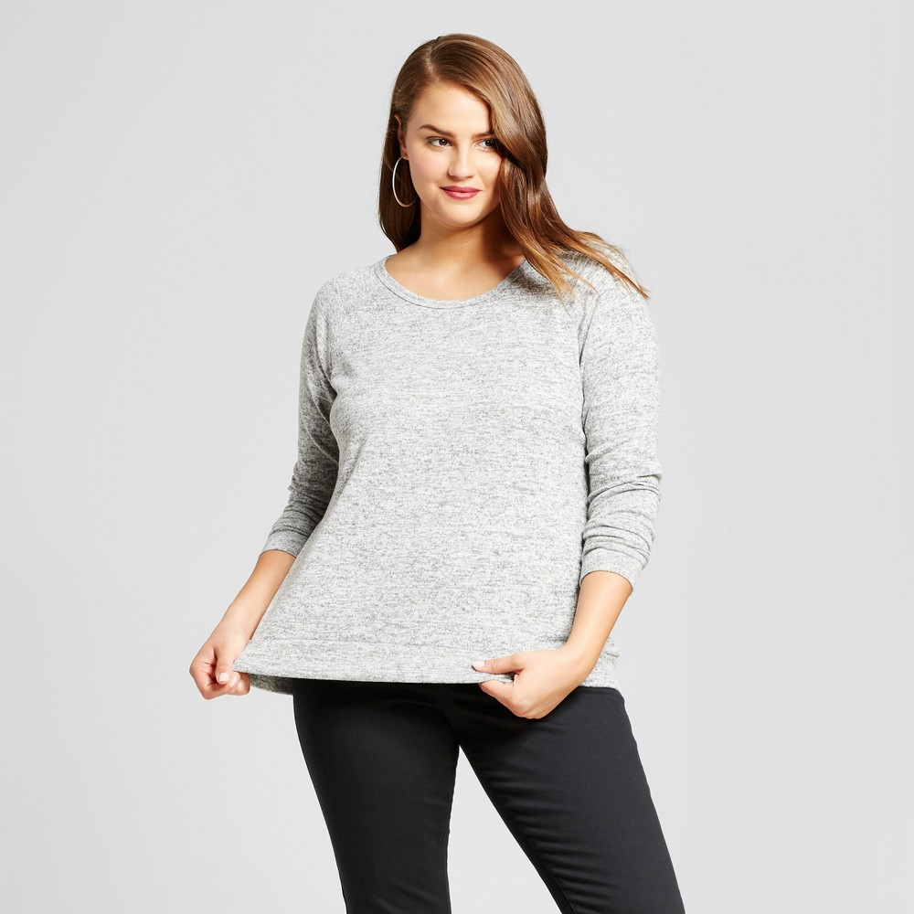 Womens Plus Size Sweatshirt with Back Detail - No Comment Gray 2X