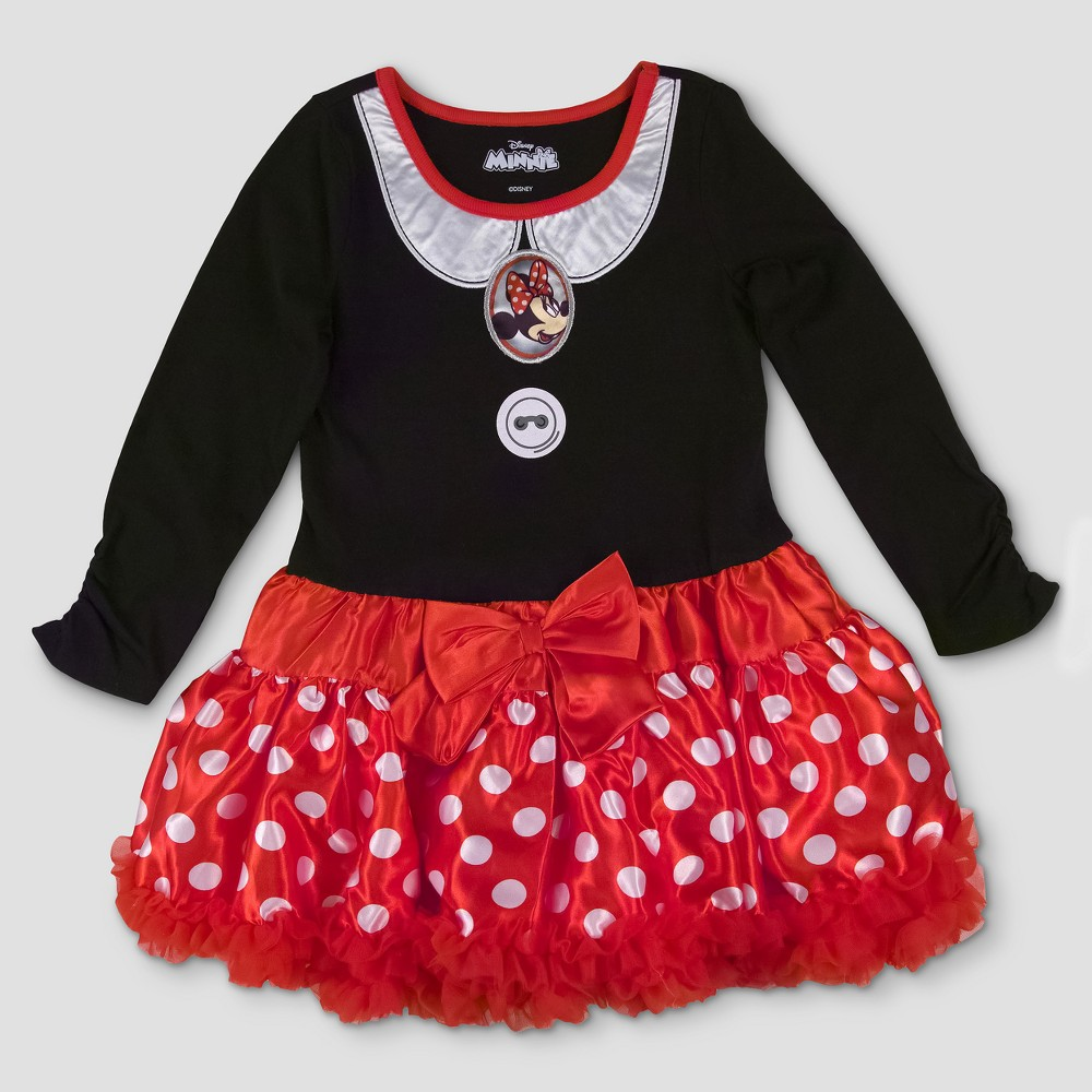 Toddler Girls Disney Minnie Mouse A Line Dress - Red 4T