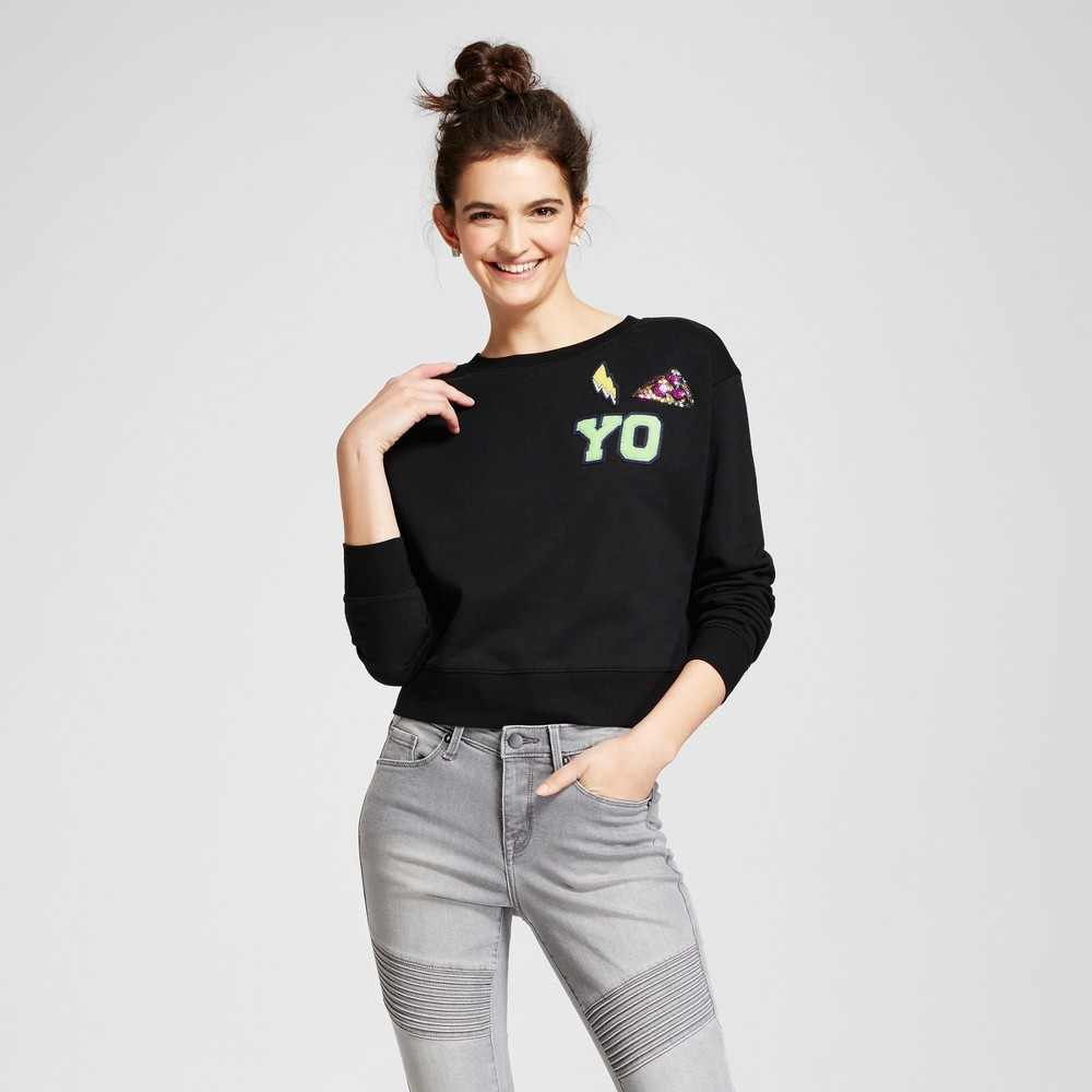 Womens Cropped Patch Sweatshirt - Mossimo Supply Co. Black L