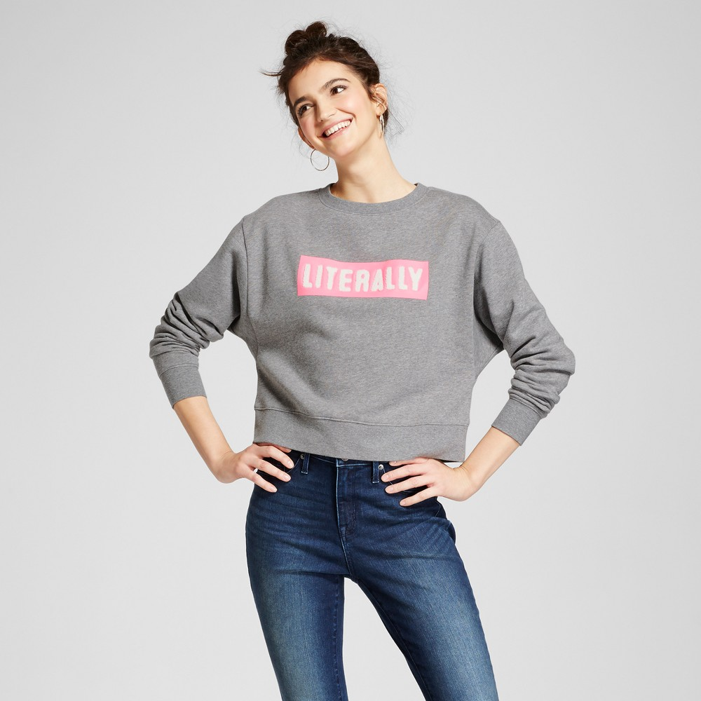 Womens Cropped Graphic Sweatshirt - Mossimo Supply Co. Gray M