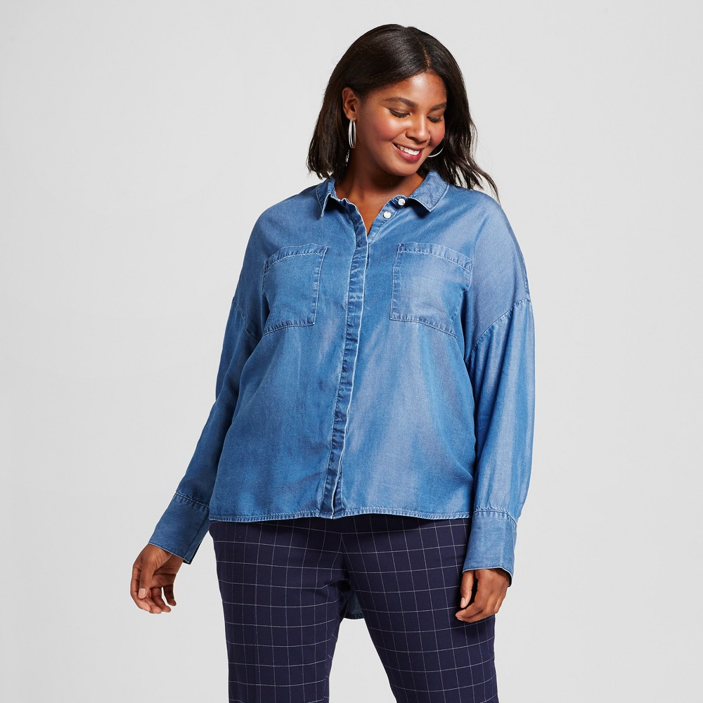 Womens Plus Size Relaxed Tencel Button Down - A New Day Medium Indigo 4X, Blue