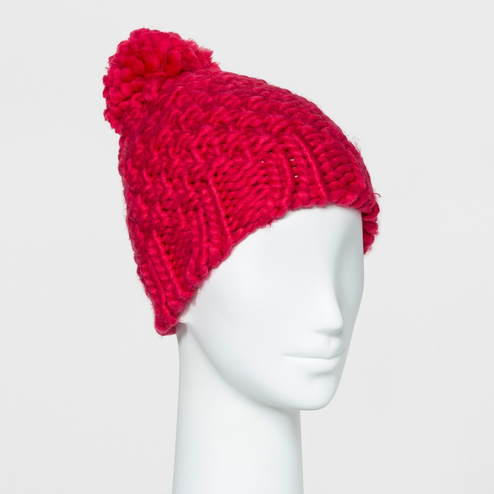 Womens Chunky Beanie with Yarn Pom - Mossimo Supply Co. Pink