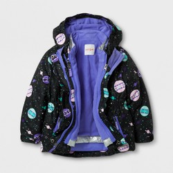 Toddler Girls' 3-in-1 Jacket Planet Print - Cat & Jack™ Black