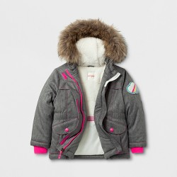 Toddler Girls' Parka Jacket with Sherpa Lining - Cat & Jack™ Gray