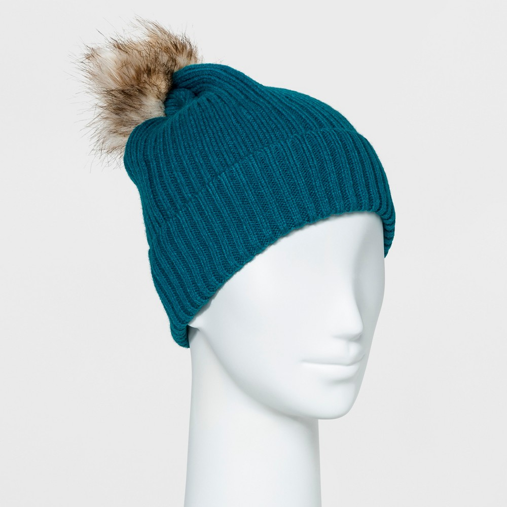 Womens Ribbed Faux Fur Pom Beanie - A New Day Teal (Blue)