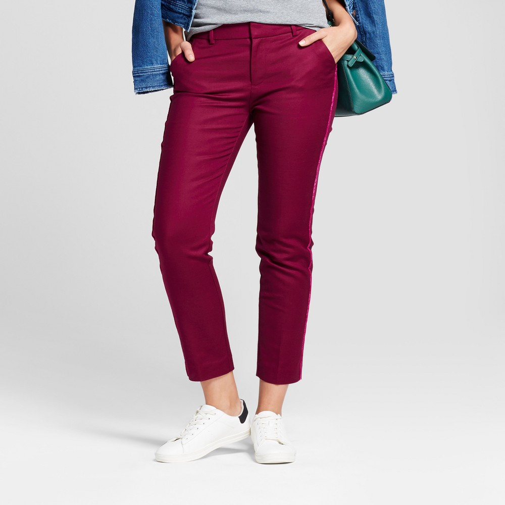 Womens Straight Leg Side-Piped Slim Ankle Pants - A New Day Cherry (Red) 0