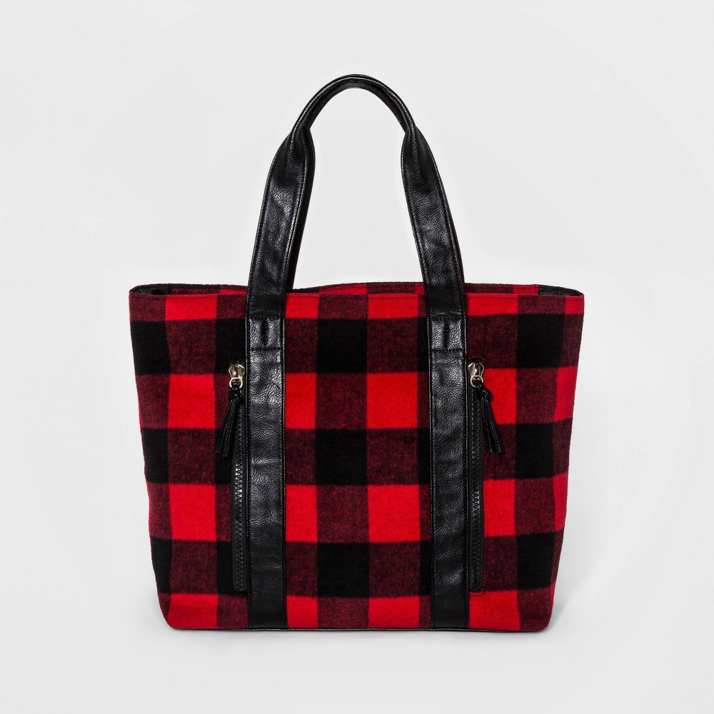 Cesca Womens Large Plaid Tote Handbag - Red Combo