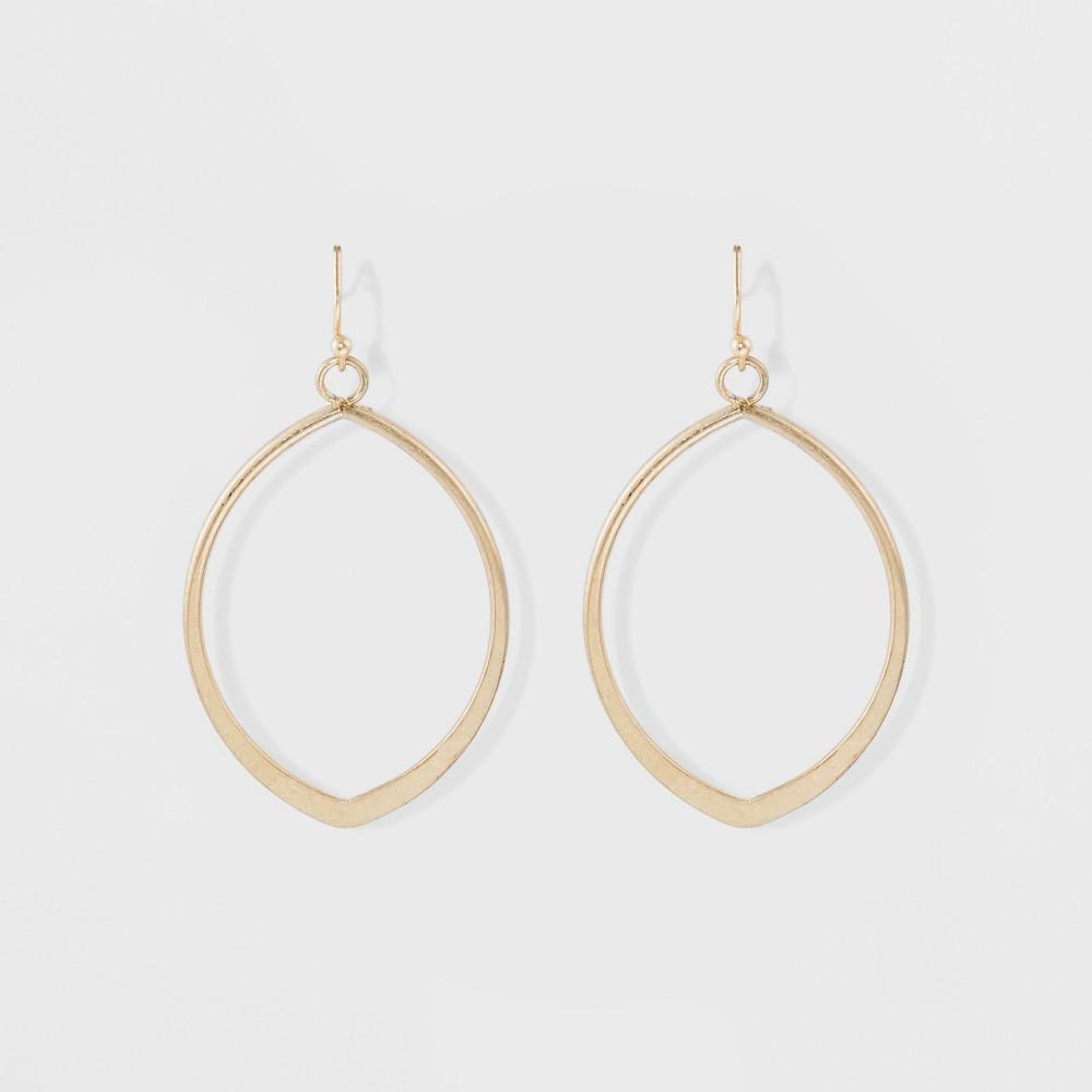 Womens Earring Hoop with Metal Cut Out Teardrop - Gold