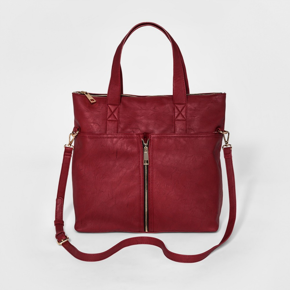 Cesca Womens Large Tote with Zip Detailing and Front Pocket - Red