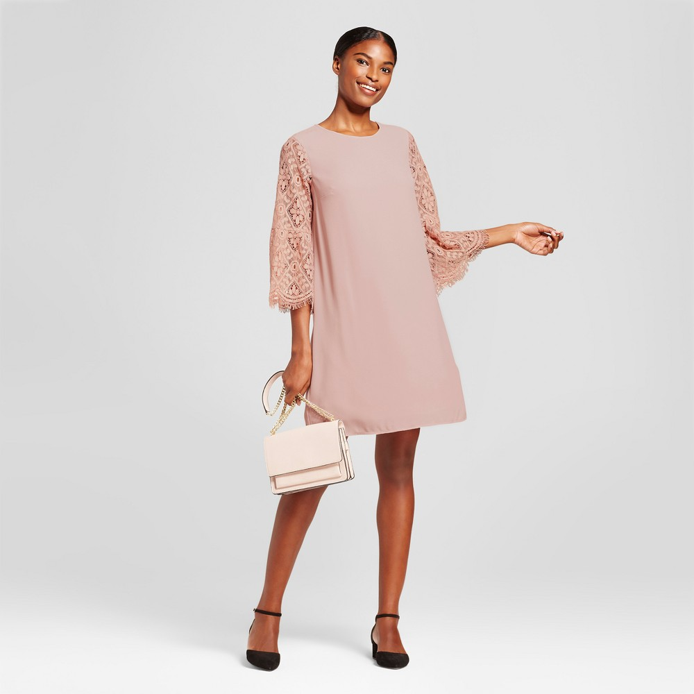 Womens Lace Bell Sleeve Dress - A New Day Pink XL