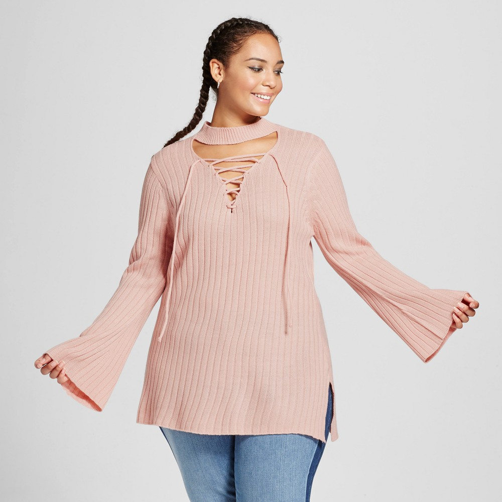 Womens Plus Size Bell-Sleeve Tunic Sweater - No Comment Pink 2X