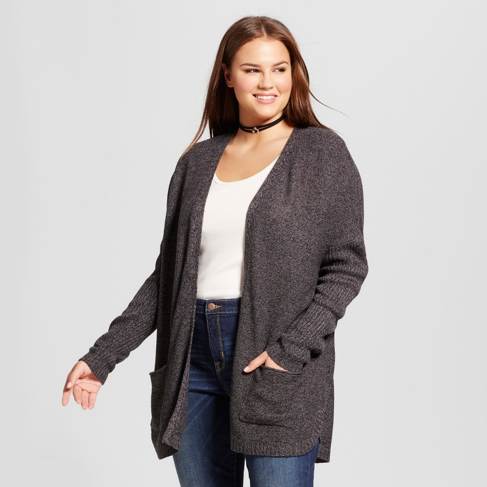 Women's Plus Size Cardigan - No Comment - Black 1X, Multicolored