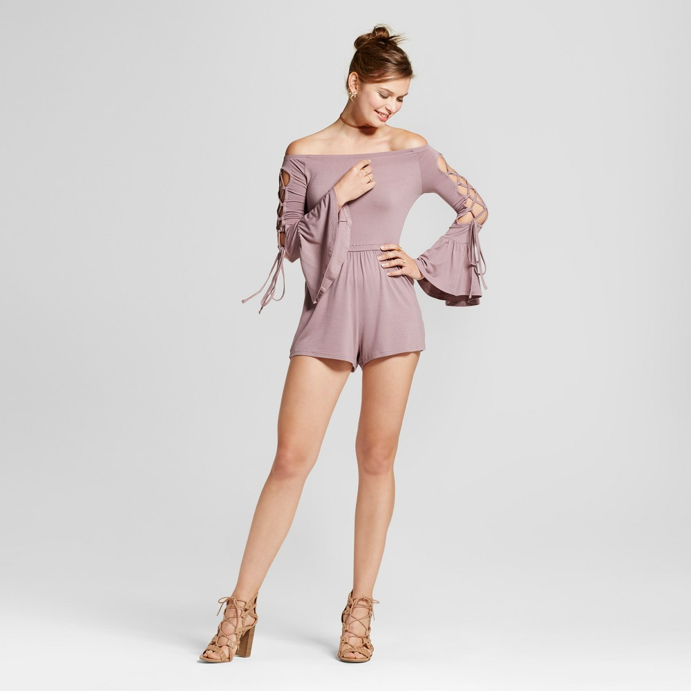 Womens Off the Shoulder Lattice Bell Sleeve Romper - Love @ First Sight (Juniors) Pink XL, Purple