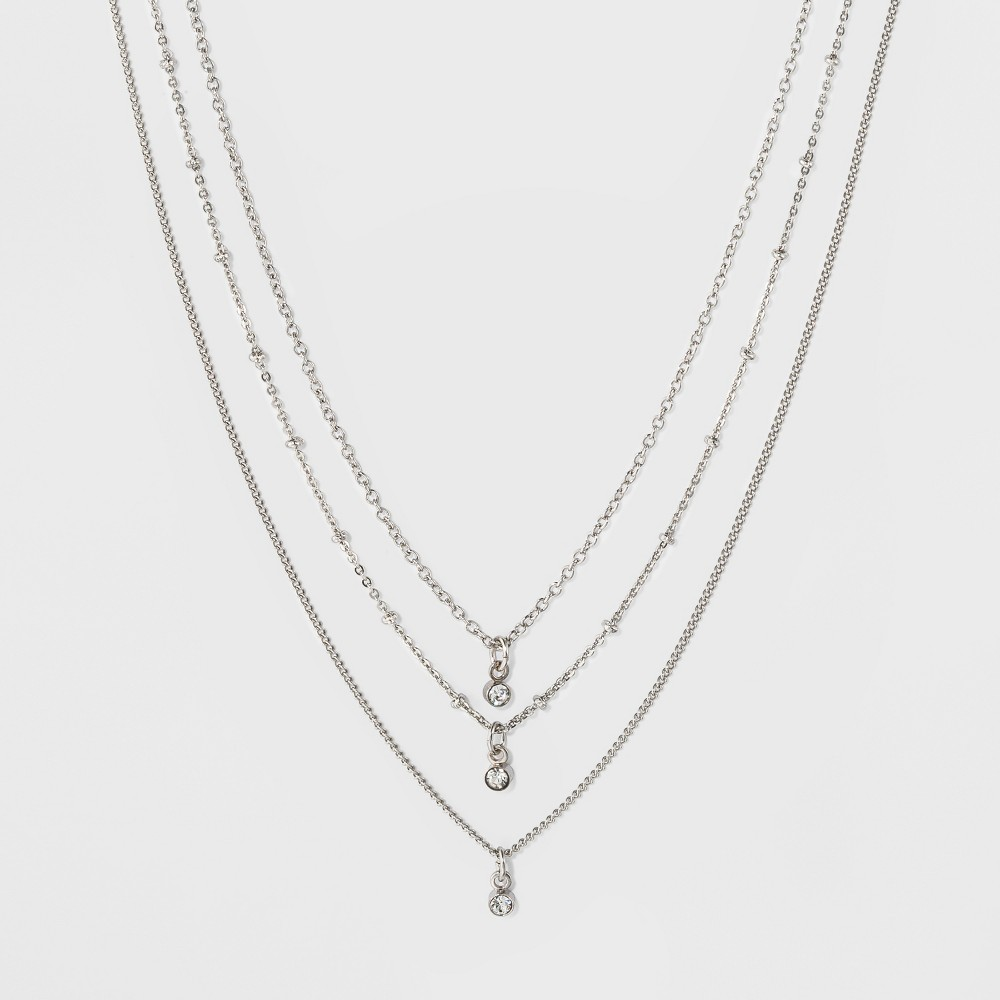 Womens Three Row Short Necklace with Crystals - Silver, Size: Small