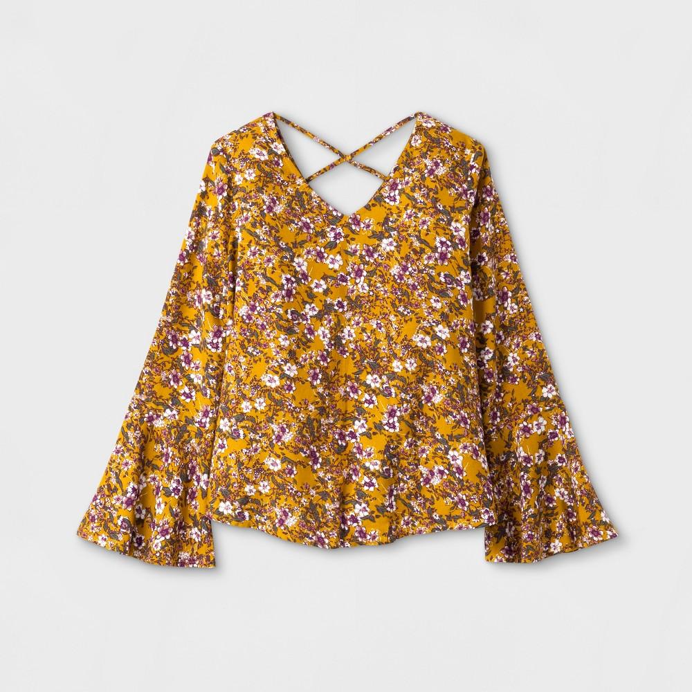 Girls Long Sleeve Boho Blouse - Art Class Golden Spice M, Yellow