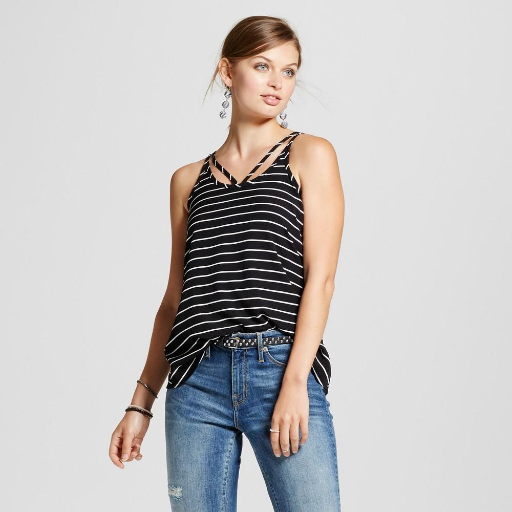 Womens Stripe Strappy Tank - Love @ First Sight (Juniors) Black/White M