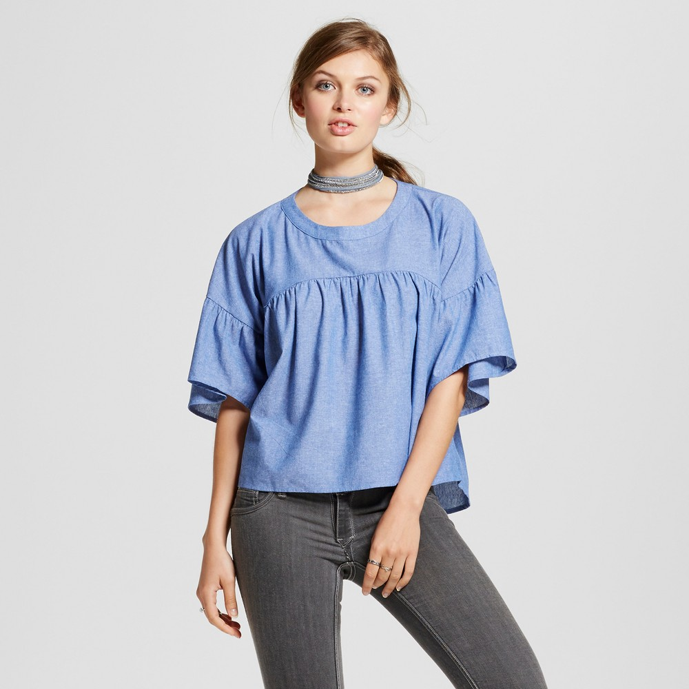 Womens Ruffle Chambray Babydoll Top - Love @ First Sight (Juniors) Chambray L, Blue