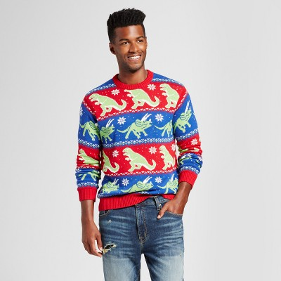 Men's Ugly Holiday Dinosaur Stripe Sweater - 33 Degrees Red/Blue L