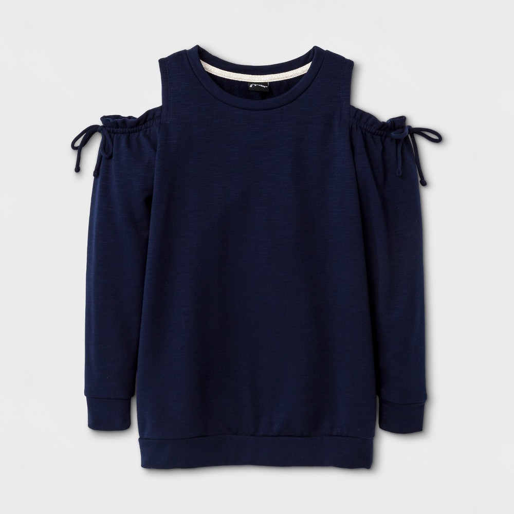 Girls Cold Shoulder Pullover - Art Class Peacoat S