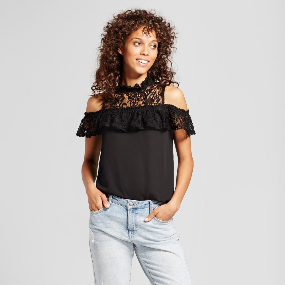 Womens Cold Shoulder Lace Ruffle Blouse - Layered with Love Black M