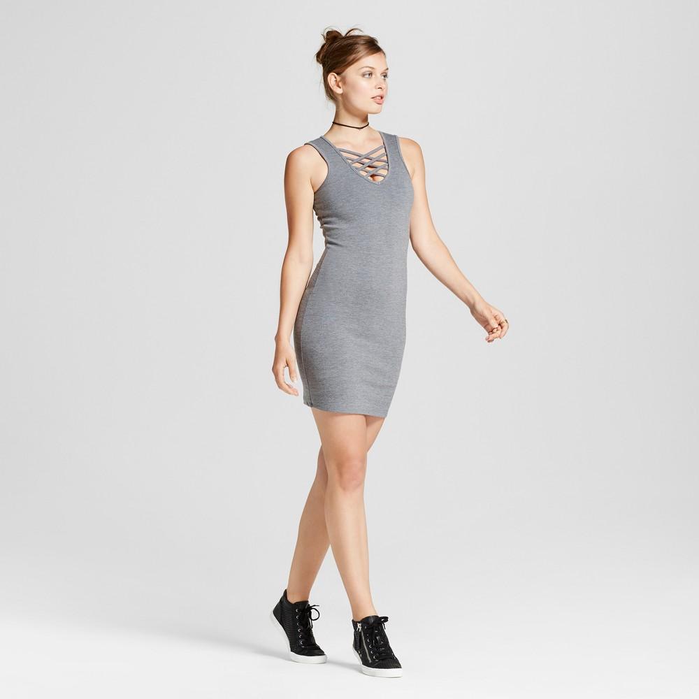 Womens Lattice Front Ponte Knit Dress - Love @ First Sight (Juniors) Gray L