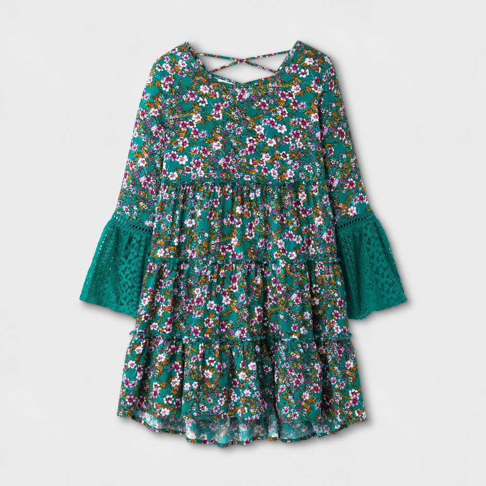 Girls A-Line Dress - Art Class Green XL